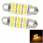 SJ50-41-6WN Festoon 41 milímetros 1W 4500K 120LM luz branca morna 6-SMD 5050 LED Car lâmpada (DC 12V / 2 PCS)