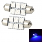 SJ50-36-6B Festoon 36mm 1W 120lm Blue Light 6-SMD 5050 LED Car Lamp (DC 12V / 2 PCS)