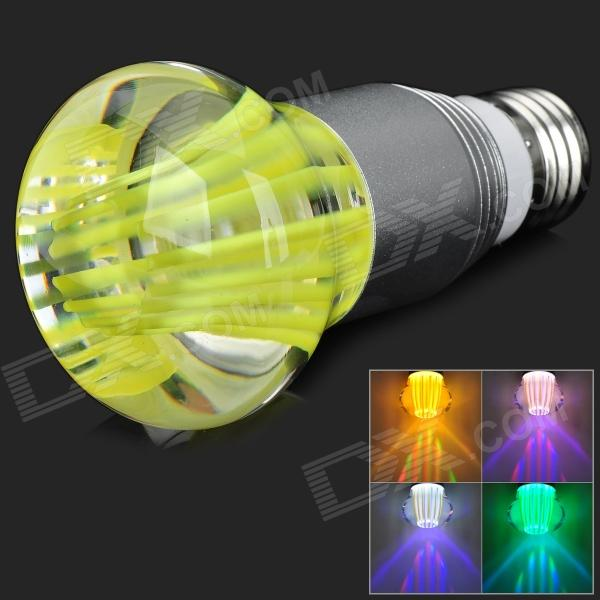 E27 3W 250lm RGB Crystal LED Bulb Light w/ 24-Key Remote Control - Silver + Yellow (85~265V) jr led e27 10w 500lm led rgb light bulb w remote control white silver ac 85 265v