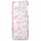 Butterfly and Flower Pattern Plastic Back Case w/ Screen Guard for Iphone 5 - Translucent + Red