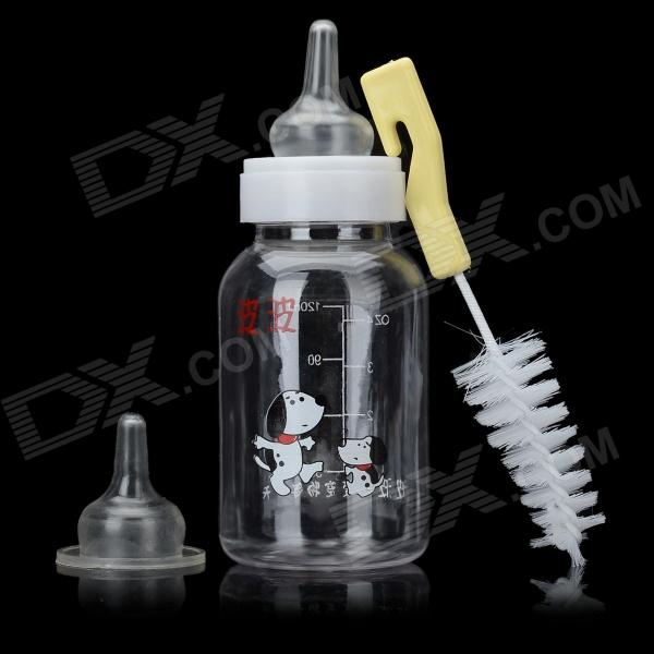 Portable Pet Feeder-Bottle w/ Cleaning Brush - White