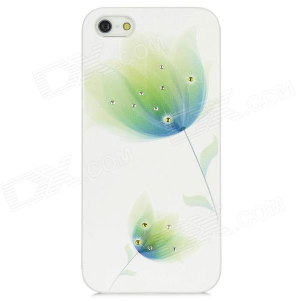 IPSKY Elegant Rhinestone Flower Pattern Protective PC Case for iPhone 5 - White