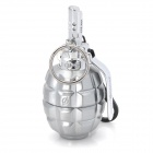 Mini Grenade Shape Zinc Alloy Butane Gas Lighter w/ Keychain - Silver