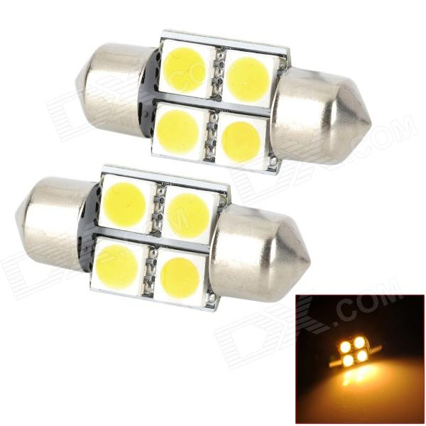 Festoon 31mm 0.7W 90lm 4-SMD 5050 LED Warm White Car Reading / Door Lamp (DC 12V / 2 PCS)