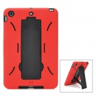 Protective Detachable Silicone + Plastic Back Case w/ Stand Holder for Ipad MINI - Black + Red