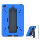 Protective Silicone + Plastic Back Case w/ Stand Holder for Ipad MINI - Black + Blue