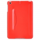 Protective Plastic + PU Cover Case w/ Stand for Ipad MINI - Red