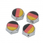 German National Flag Pattern Universal Aluminum Alloy License Plate Bolt Screw Caps for Car (4 PCS)