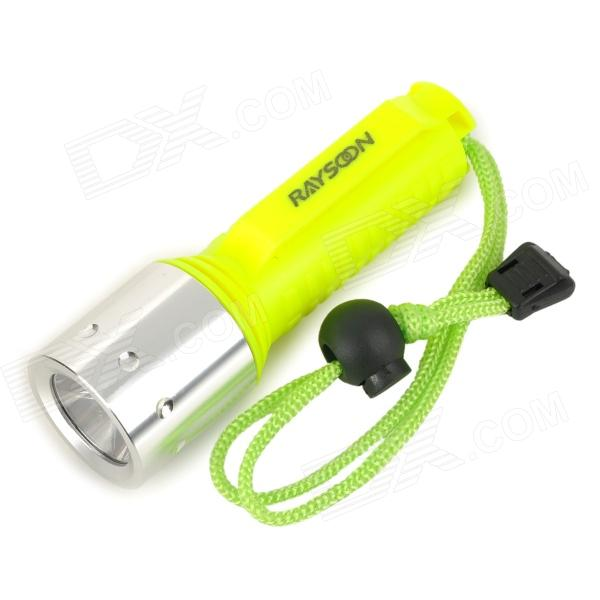 RAYSOON 800lm 3-Mode White Diving Flashlight w/ Cree XM-L T6 - Luminous Yellow + Silver (1 x 18650) raysoon t383 600lm 3 mode white zooming bicycle headlamp w cree xm l t6 black blue 1 x 18650