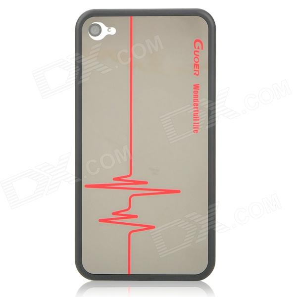 GuoEr Mirror ECG Diagram Pattern Protective Back Case for Iphone 4 / 4S - Black stylish bubble pattern protective silicone abs back case front frame case for iphone 4 4s