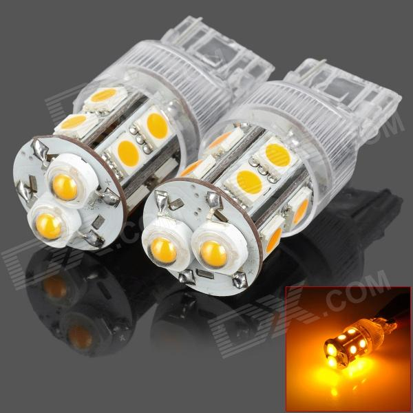 PointPurple D1312Y T20 5W 180lm Yellow Light 12-LED Car Turn Signal Light (DC 12V / 2PCS) cyan soil bay 2pcs bau15s 1156 led bulb car turn signal light 27smd 3030 amber yellow py21w led auto reverse backup stop lights