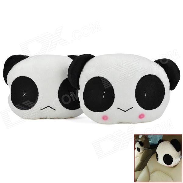 Cute Panda Style PP Cotton Car Sofa Cushion Head Neck Pillow - White + Black (2 PCS)