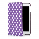 Polka Dot Pattern Protective Swivel Rotating PU Leather Case for Ipad MINI - Purple + White