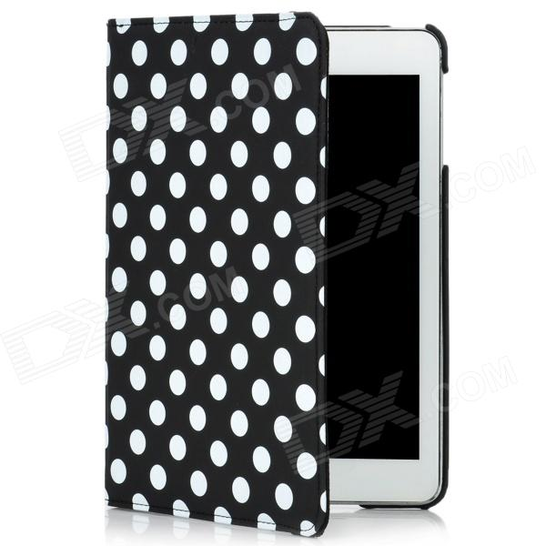 Polka Dot Pattern Protective Swivel Rotating PU Leather Case for Ipad MINI - Black + White handpainted cactus and polka dot printed pillow case