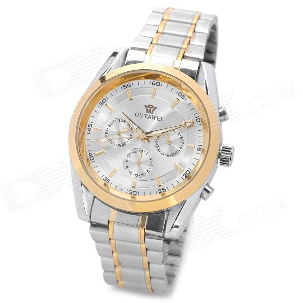 OUYAWEI 1040-2 Fashion Man's Analog Auto Mechanical Wrist Watch - White + Golden