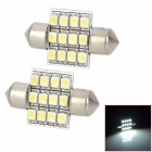 Festoon 31mm 0.7W 70lm 12-SMD 3528 LED White Light Car Reading / Interior / Door Lamp - (12V / Pair)