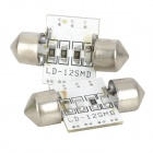 Festoon 31 milímetros 0.7W 70lm 12-SMD 3528 LED White Light Leitura do carro / Interior / Lâmpada da porta-(12V / Pair)