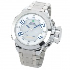 WEIDE WH1008-1 Fashion Man's Analog + Digital Quartz Wrist Watch - White + Silver (1 x SR626)