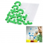 Funny Crazy DIY Silicone Drinking Straw - Green + Transparent