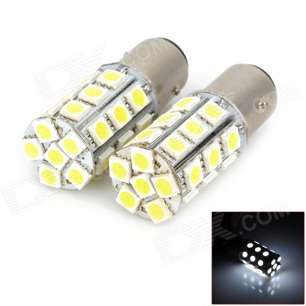 115750-27W 1157 / BAY15D 5W 300lm 27-SMD 5050 LED White Light Car Lamps - (DC 12V / 2 PCS) 1157 bay15d 5050 30 smd 4w 6500k 360lm led car light bulbs dc 14v pair