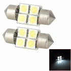 SJ50-31-4W Festoon 31mm 0.7W 90lm 6000K White Light 4-SMD 5050 LED Car Lamp (DC 12V / 2 PCS)