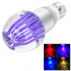 E27 3W 250lm RGB Light Crystal LED Bulb w/ 24-Key Remote Control - Silver + Purple (85-265V)