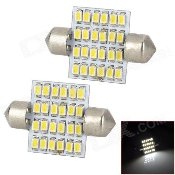 SJ121036-24W Festoon 36mm 1.5W 160lm 6500K White Light 24-SMD 1206 LED Car Lamp (DC 12V / 2 PCS) cob 48 smd chip super white car dome light reading lamp 12v led dome bulb led car parking auto interior panel light