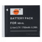DSTE NB-6L Replacement 3.7V 1700mAh Battery for Canon IXUS 85 IS / 300 / 310 / 200 / 210 - Black