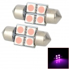 SJ50-31-4P Festoon 31mm 0.7W 90lm 4-SMD 5050 Pink Light Car Reading / Interior / Door Lamps (DC 12V)