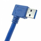 USB 3.0 A Male Angled Head to Female Extension Cable - Blue