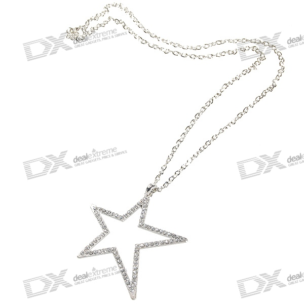 Glamorous Crystal Star Platinum Plated Alloy Necklace (34cm)