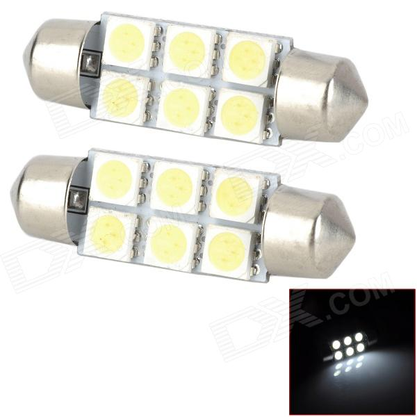 SJ50-41-6W Festoon 41mm 1W 120lm 6500K White Light 6-SMD 5050 LED Car Lamp (DC 12V / 2 PCS) cob 48 smd chip super white car dome light reading lamp 12v led dome bulb led car parking auto interior panel light