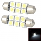 SJ50-41-6W Festoon 41mm 1W 120lm 6500K White Light 6-SMD 5050 LED Car Lamp (DC 12V / 2 PCS)