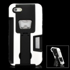 Protective Hard Plastic Case w/ Bottle Opener for iPhone 5 - Black + White