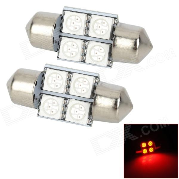 SJ50-31-4R Festoon 31mm 0.7W 90lm 4-SMD 5050 LED Red Light Car Lamps - (DC 12V / 2 PCS) dimming style relay 12v led car drl daytime running lights with fog lamp hole for mazda 3 axela 2014 2015