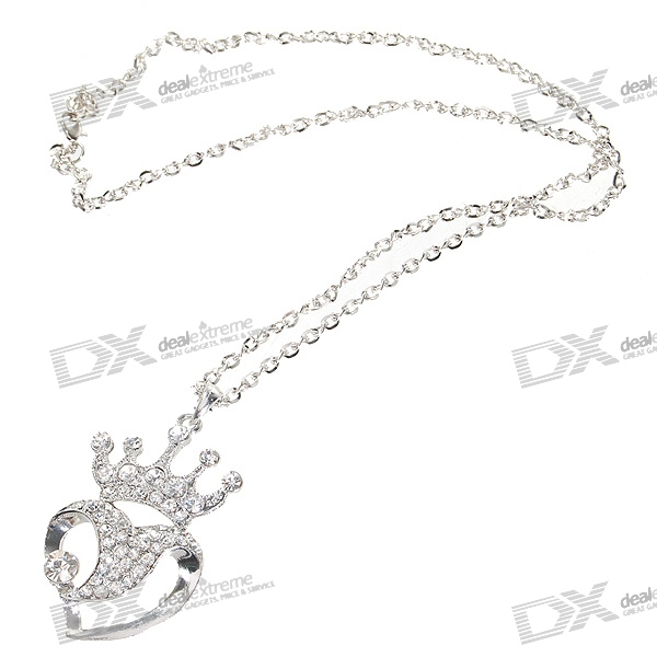 Glamorous Crystal Heart Crown Platinum Plated Alloy Necklace (33cm)