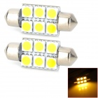 SJ50-36-6WN Festoon 36mm 1W 120lm 6-SMD 5050 LED Warm White Car Reading Light - Silver (12V / 2 PCS)