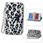 KALAIDENG Leopard Pattern Protective PU Leather + Super Fiber Case for Samsung i9100 - White