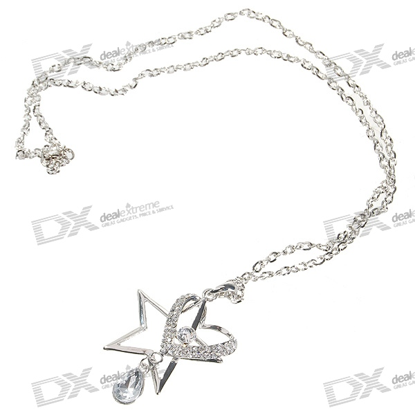 Glamorous Crystal Star + Heart Platinum Plated Alloy Necklace (35cm)