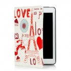 Love-in-Paris Iron Tower Pattern Protective PU Case for Ipad MINI - White + Red