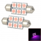 SJ50-36-6P Festoon 36mm 1W 120lm 6-SMD 5050 LED Pink Light Car Reading / Interior / Door Lamp (12V)