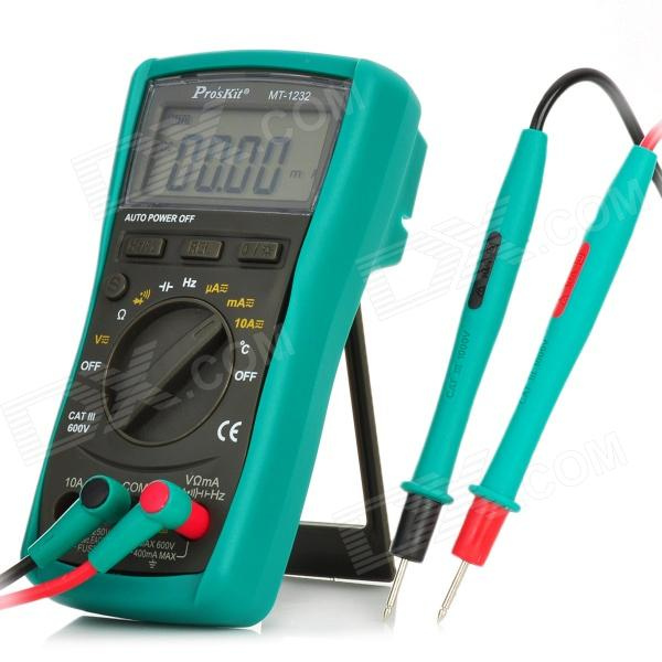 Pro'sKit MT-1232 2.1 LCD Digital Auto Multimeter - Green + Grey + Red + Yellow (2 x AA) modern chinese style bamboo pendant lamp living room lights restaurant hanglamp industrieel wooden veneer dining room lights