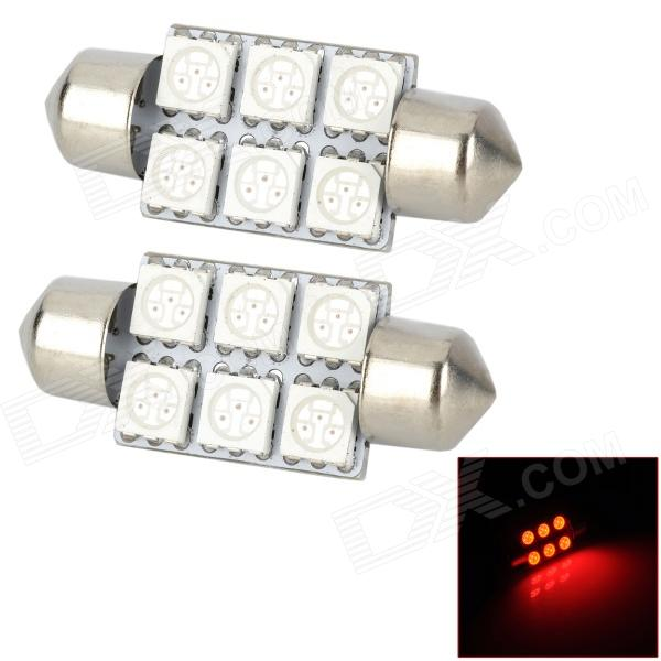 SJ50-36-6R Festoon 36 milímetros 1W 120LM Red 6-SMD 5050 LED Car lâmpada (DC 12V / 2 PCS)