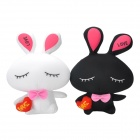 Cute Lover Couple Rabbit Shape Bamboo Charcoal Odor Absorber Pack Bag - Black + White