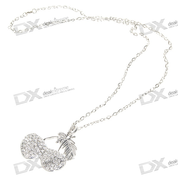 Glamorous Crystal Cherry Platinum Plated Alloy Necklace (34cm)