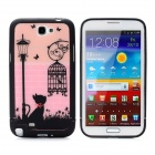 Little Cat Style Protective Plastic Back Case for Samsung Galaxy Note II N7100 - Pink + Black