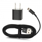 USB US Plug Power Adapter w/ USB to 8pin Lightning Cable - Black (110-240V)