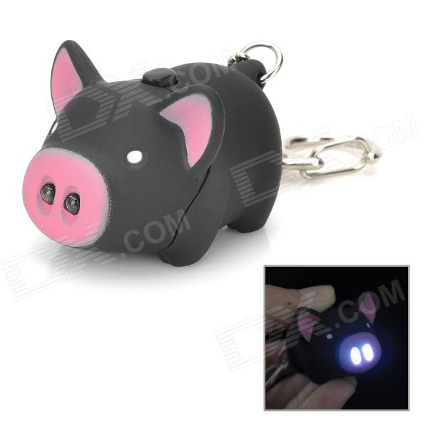 Cute Pig ABS 2-LED White Light Keychain com efeito sonoro - preto + rosa (3 x AG10)