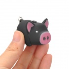Cute Pig ABS 2-LED White Light Keychain w/ Sound Effect - Black + Pink (3 x AG10)