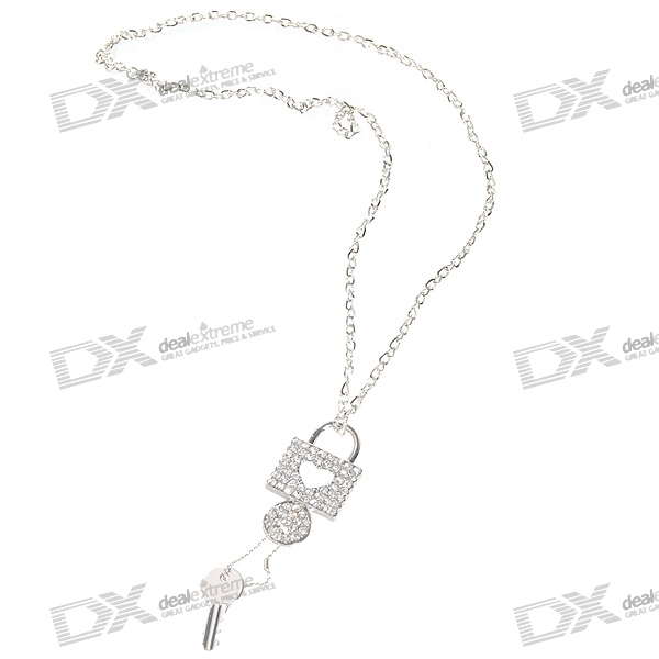Glamorous Crystal Lock + Key Platinum Plated Alloy Necklace (32cm)